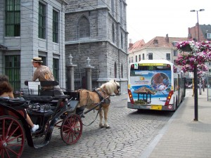 Ghent, Belgium - choice of bus, light rail, or horse.