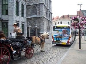 Ghent, Belgium - choice of bus, light rail, or horse.
