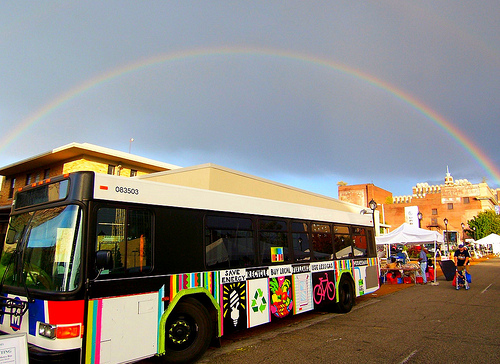 Rainbow bus, courtesy of Green Homes Festival