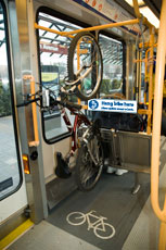 Photo of Max light rail bike hook, courtesy of TriMet's website.