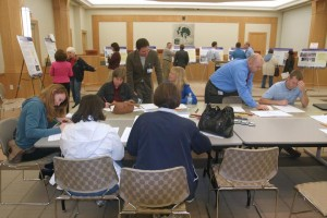 Participants work through the planning exercise at the Community Workshop in Chesterfield.