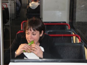 Hey, no eating on the train!