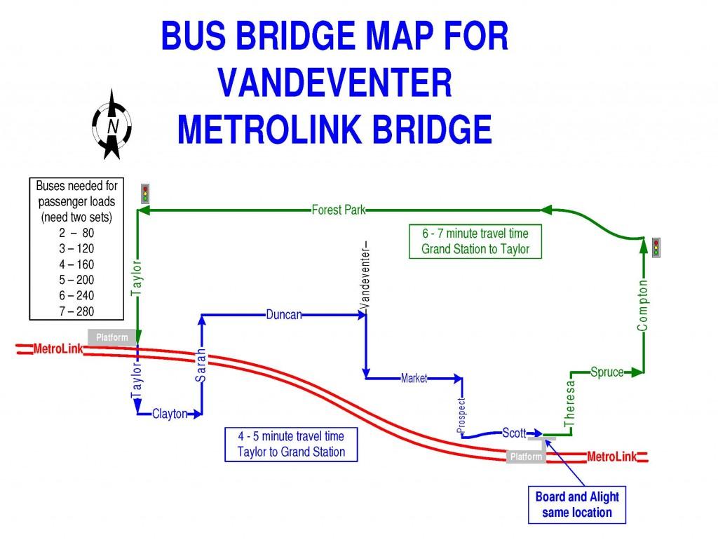 Vandenventer Bus Bridge Route Map