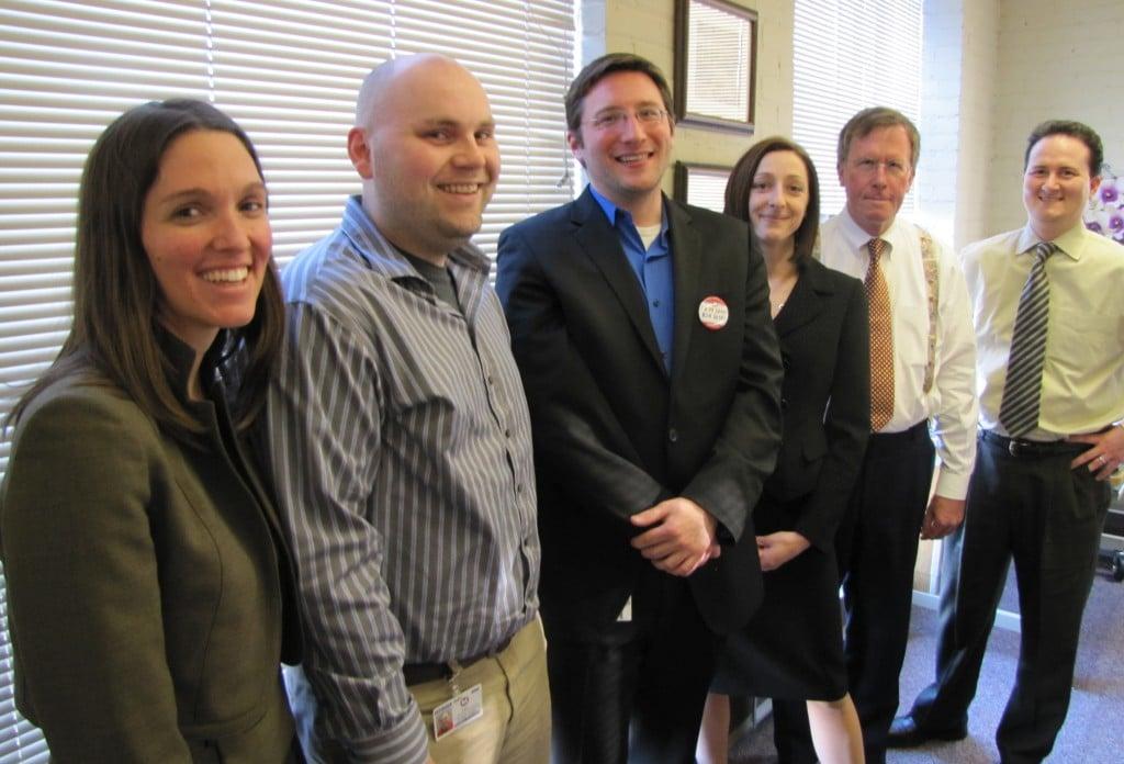 Part of the Long-Range Plan Team: (left to right) Renee Ducker of URS, Jayson Hagen, Mark Phillips, Jessica Mefford-Miller, Ken Kinney of URS and Todd Hennessey