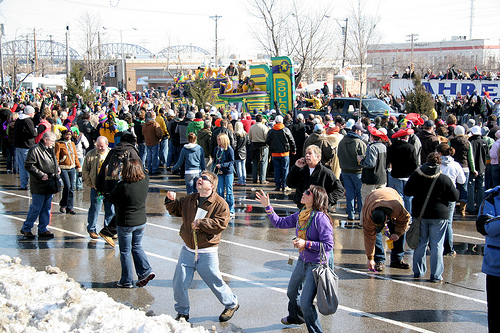 St. Louis Mardi Gras Parade in Soulard. Photo via <a href=