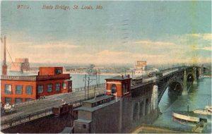 A postcard showing the Eads Bridge.