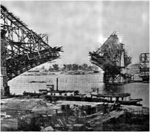 An unfinished span of the Eads Bridge, during construction.