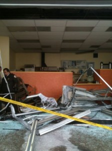 The front of the cafe was smashed.