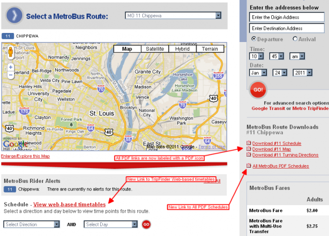 Changes to Route Pages on Metrostlouis.org