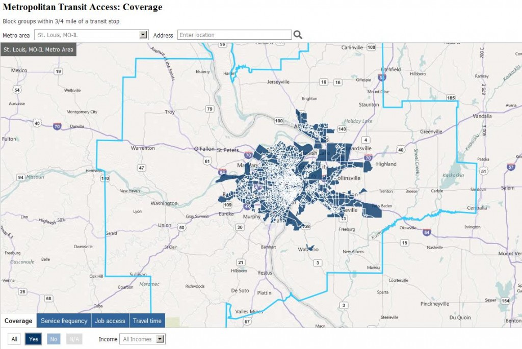 Brookings Study Map - Transit Coverage in 16 County Region