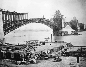 The Eads Bridge during construction.