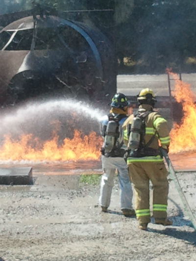St. Louis Downtown Airport Firefighter Training with burning aircraft