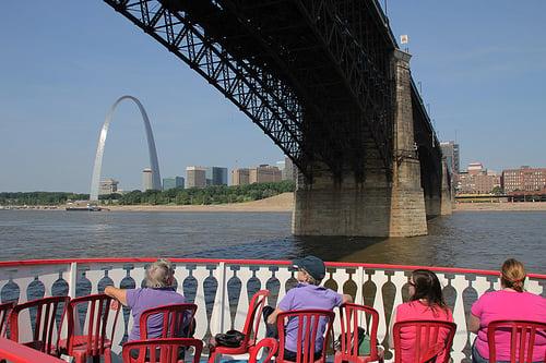 Mississippi River Bridge Tour on Riverboats, under the Eads Bridge