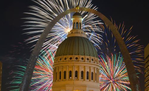 Fireworks over the Old Courthouse in downtown St. Louis