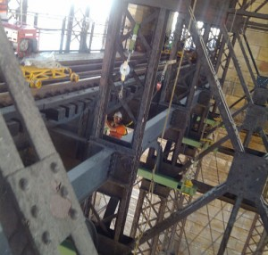 Installing scaffolding on the Eads Bridge