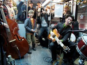 Pokey LaFarge plays onboard MetroLink in 2010.