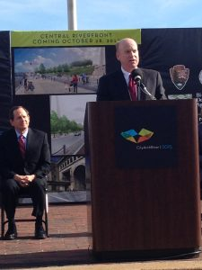 Bi-State Development Agency Leader John Nations speaks at the groundbreaking ceremony for the historic CityArchRiver 2015 project. Nations mentioned how proud the Agency is to celebrate and contribute its partnership to the coming development along the St. Louis Riverfront.