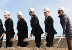 Local officials, including Mayor Slay, County Executive Charlie Dooley and Bi-State CEO John Nations, help prove that the project is 'shovel ready'.