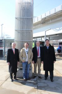 Left to right: Bi-State Development Agency President & CEO John Nations, Artist Ben Fehrmann, Arts in Transit Director David Allen, and Arts in Transit Advisory Council Chairman Tim Boyle