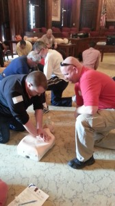 Firefighter/EMT Terry Bowman (right) has taught CPR/first-aid training for about four years.