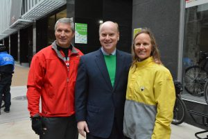 Greg Horn, MoDOT district engineer for the St. Louis region, John Nations, president and CEO of the Bi-State Development Agency/Metro, Ann Mack, CEO of Trailnet