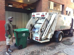 Recycling contractor Always Green processes a tote at Metro headquarters.