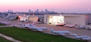 jet aviation planes downtown at sunset