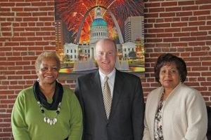 Commissioner Vernal Brown, Bi-State Development Agency President and CEO John Nations, Commissioner Irma Golliday