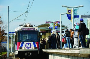 Passengers at the North Hanley MetroLink station on November 23, 2009.