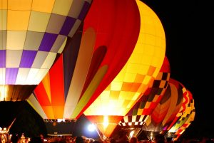 A hot air balloon at night in Forest Park