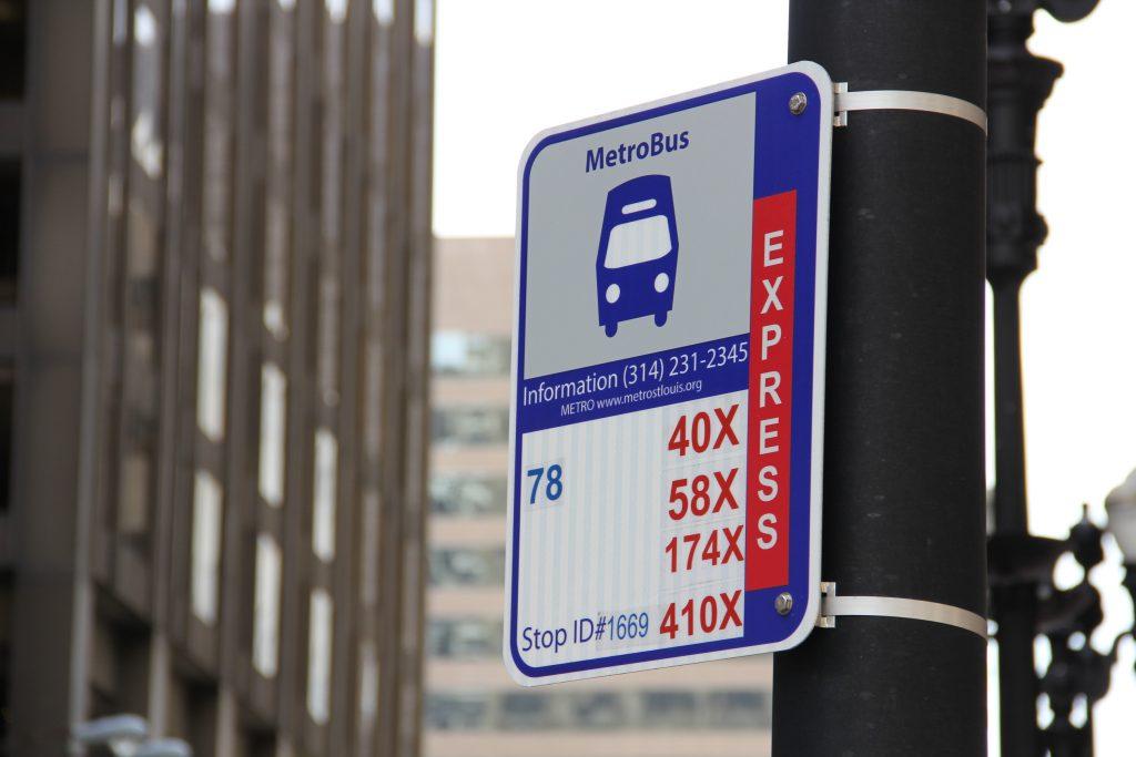 Metrobus stop sign