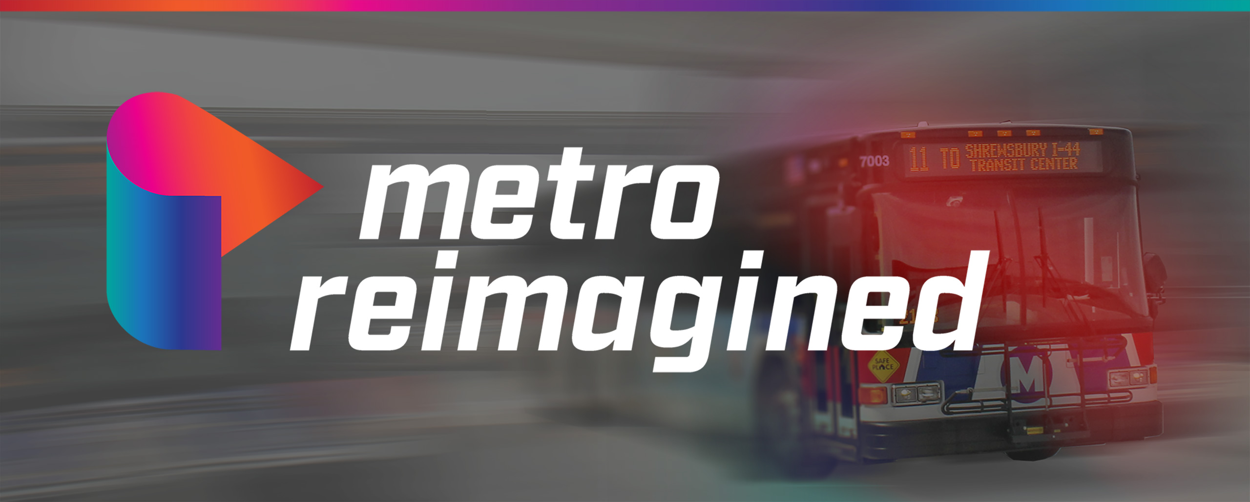 Metro Reimagined logo overlay on bus in motion