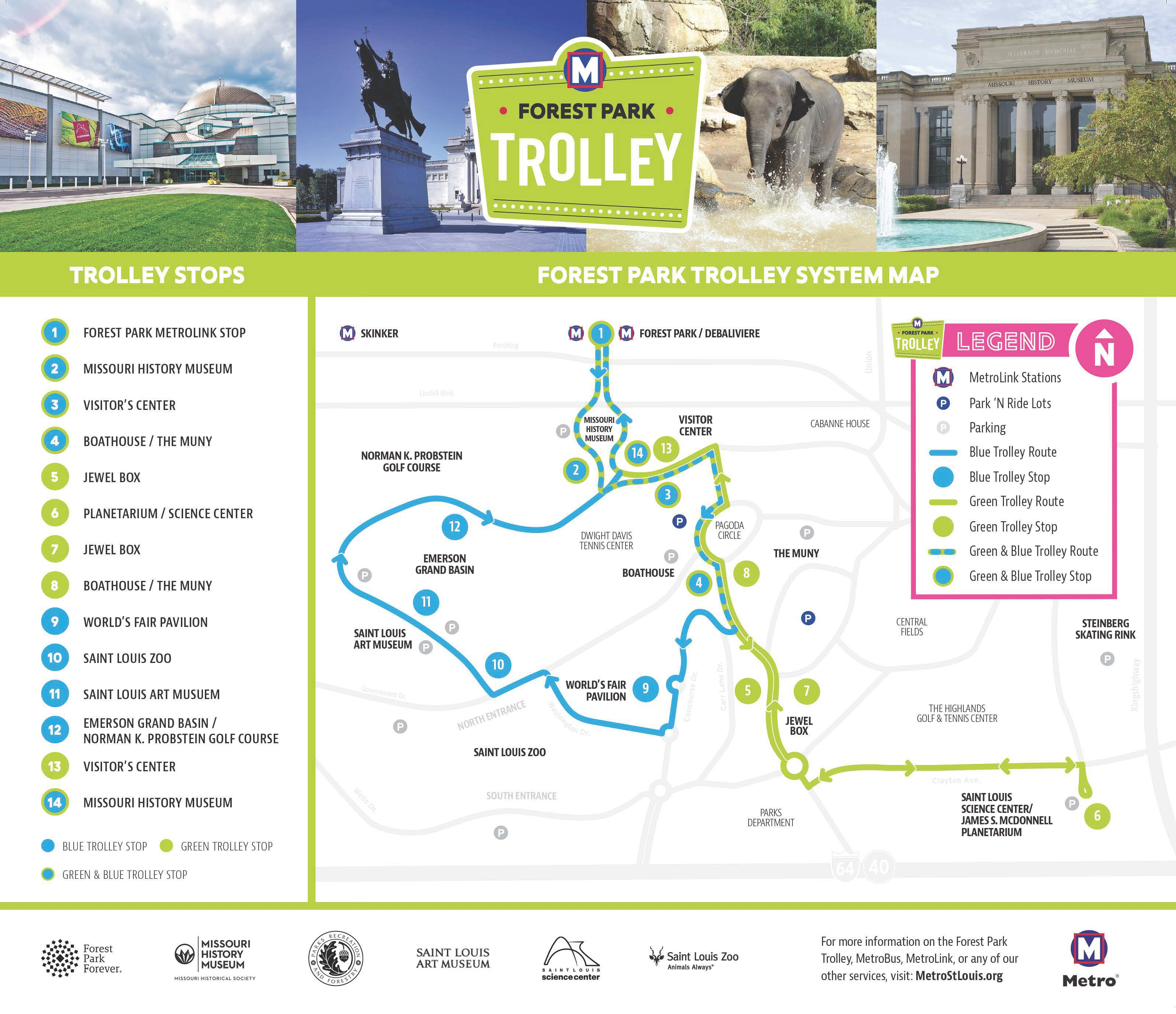 Forest Park Trolley is Free to Ride on Sundays This Year ... on school bus route map, light rail route map, people mover route map, st. charles streetcar route map, septa bus route map, monorail route map, honolulu bus route map,