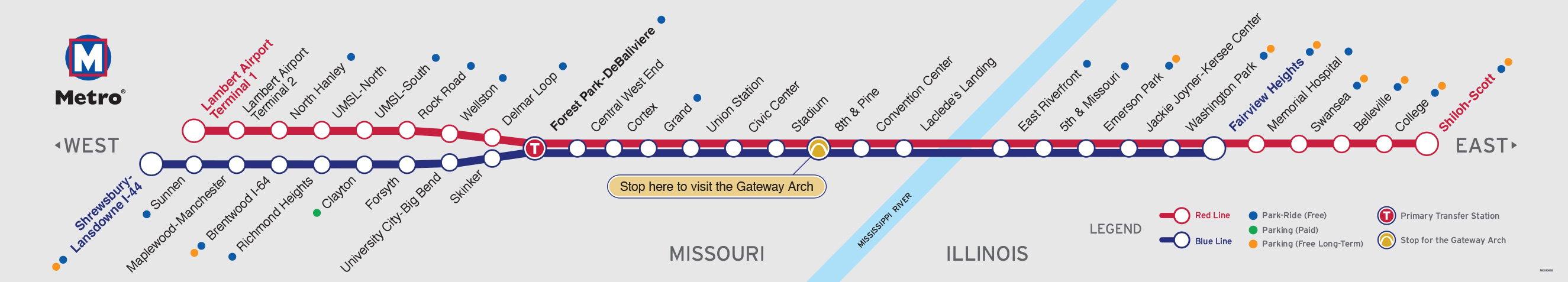 Subway Map 1 Train Route.Metrolink Metrostlouis Org Site Metro Transit St Louis