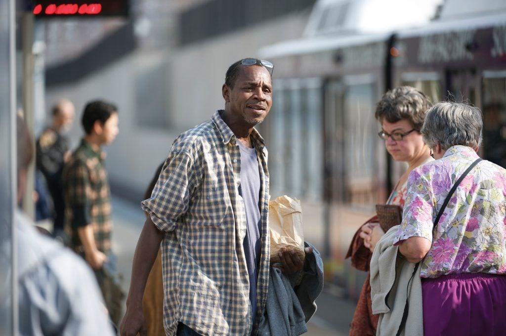 man walking to MetroLink