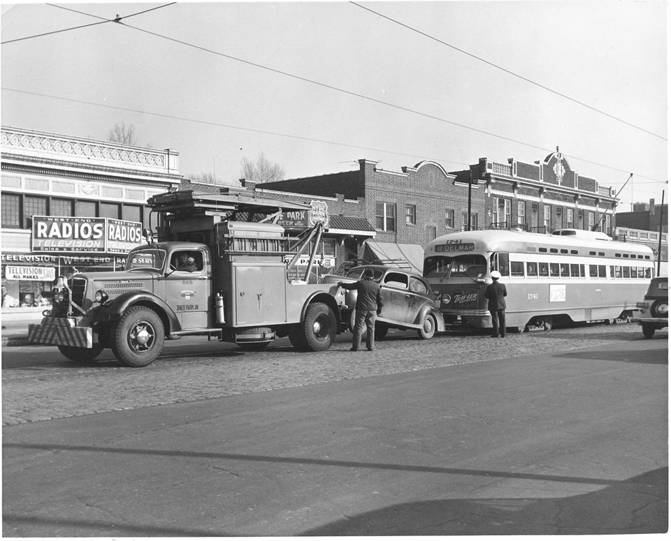 Vintage Photo of St. Louis Street Car and Tow Truck