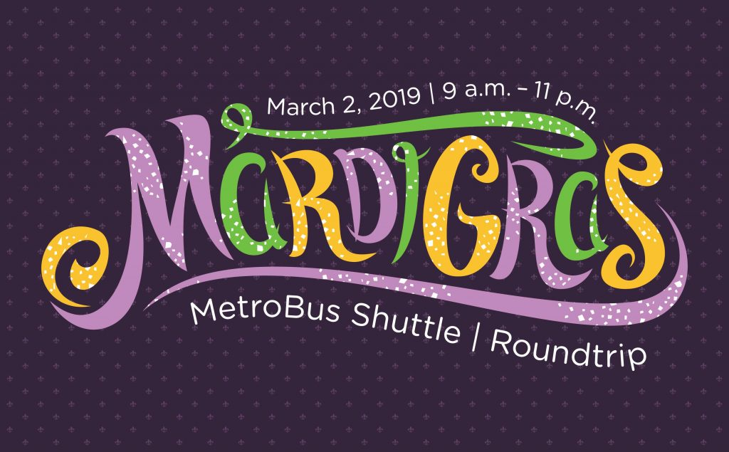 Mardi Gras graphic in purple