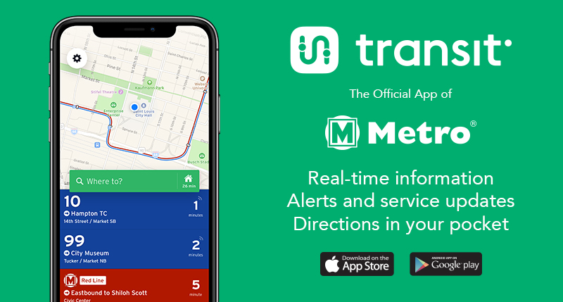 Graphic with transit app logo