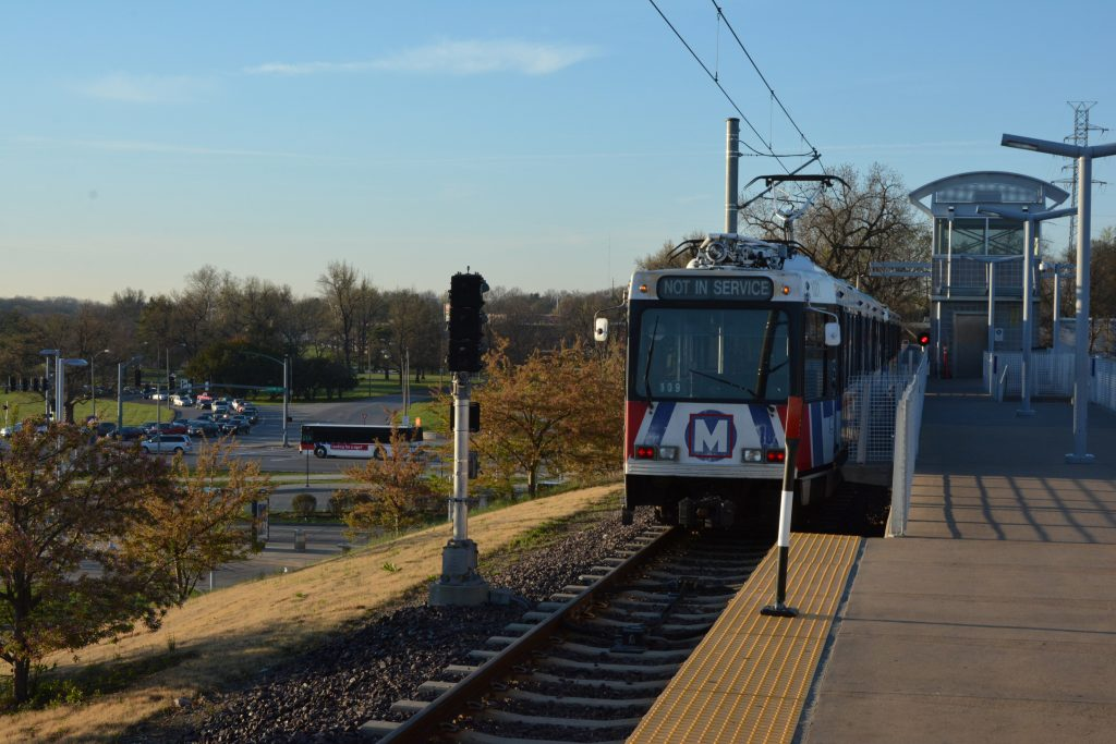 MetroLink train at the Shrewsbury station