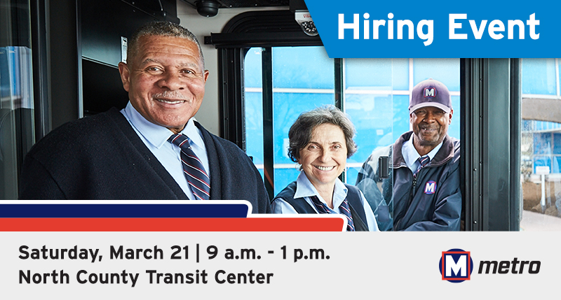 Ad for hiring event at North County Transit Center on March 21