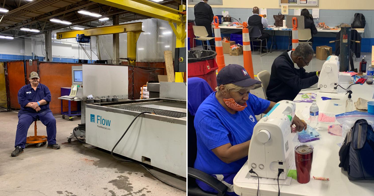 Side-by-side photos of the vehicle maintenance team fabricating polycarbonate shields and our operators sewing fabric masks