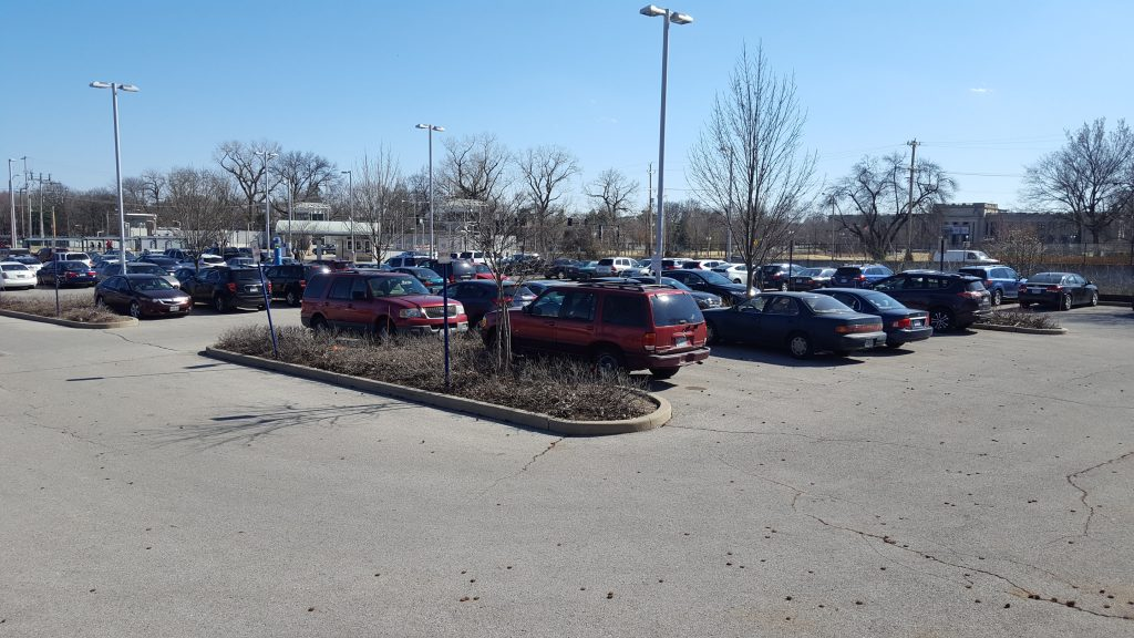 Park-Ride lot at the Forest Park-DeBaliviere Transit Center