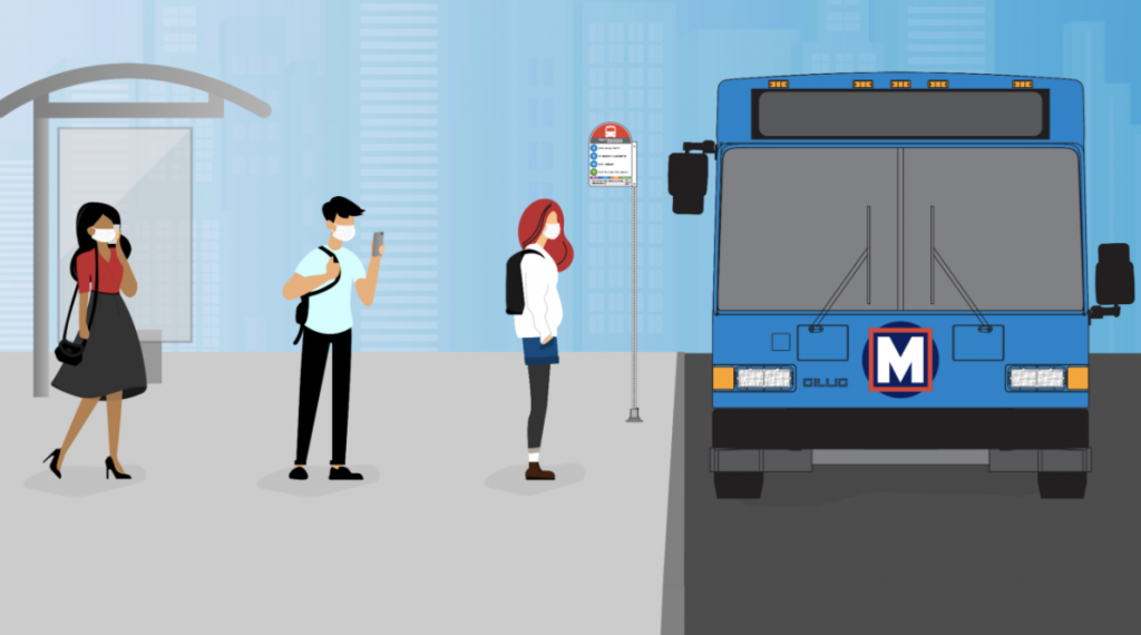 Illustration of riders waiting to get on MetroBus, wearing nose and mouth-covering masks