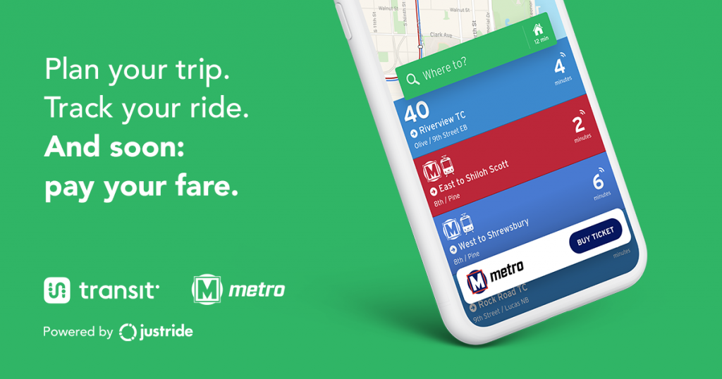 """Plan your trip. Track your ride. And soon: pay your fare"" on a green background with a preview of the new mobile ticketing app shown on a smartphone"
