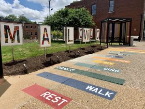Image showing the hopscotch area at the new Maplewood bus stop