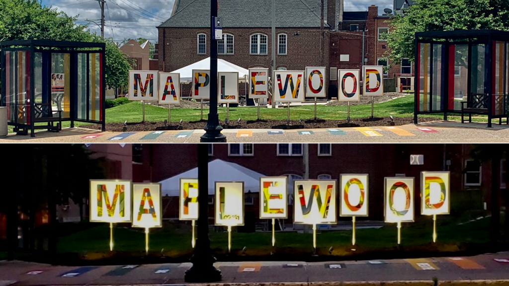 New Maplewood Bus Stop transformation, shown during the day and night
