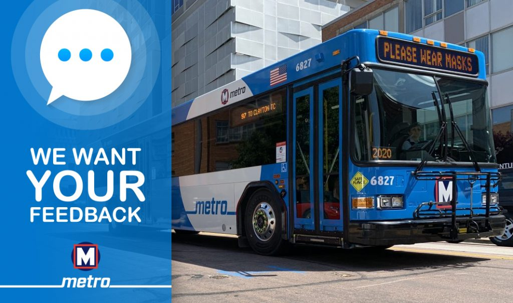 We Want Your Feedback graphic with a bus