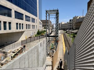 Image showing the new structure in place for the elevator on the Central West End MetroLink platform.