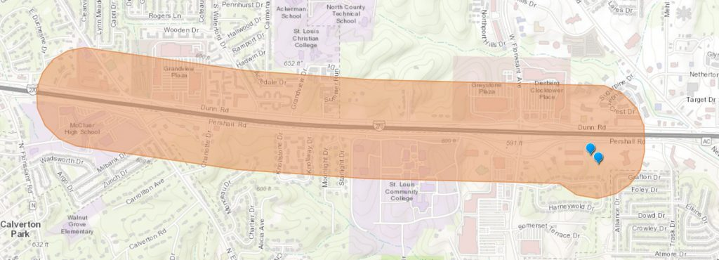 Map of Lyft Eligible Zone for Pershall Road between Elizabeth and West Florissant