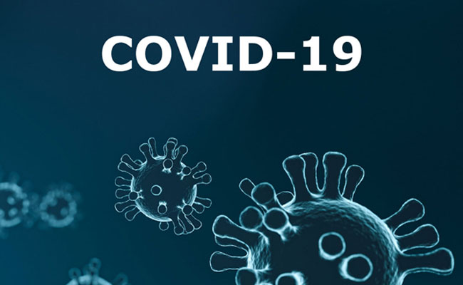 Graphic with the text COVID 19 and an illustration of virus close up.